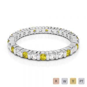 Gold / Platinum Round Cut Yellow Sapphire and Diamond Full Eternity Ring AGDR-1092