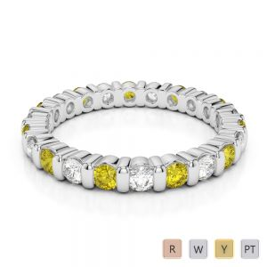 2.5 MM Gold / Platinum Round Cut Yellow Sapphire and Diamond Full Eternity Ring AGDR-1093
