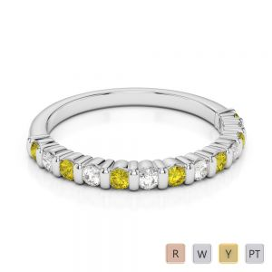 2 MM Gold / Platinum Round Cut Yellow Sapphire and Diamond Half Eternity Ring AGDR-1095