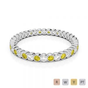 2 MM Gold / Platinum Round Cut Yellow Sapphire and Diamond Full Eternity Ring AGDR-1098