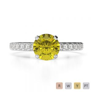 Gold / Platinum Round Cut Yellow Sapphire and Diamond Engagement Ring AGDR-1201