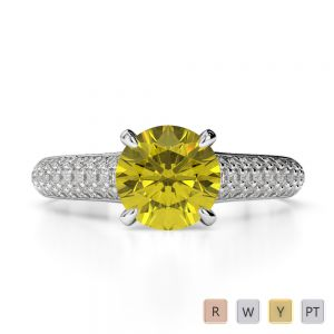Gold / Platinum Round Cut Yellow Sapphire and Diamond Engagement Ring AGDR-1203