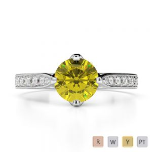 Gold / Platinum Round Cut Yellow Sapphire and Diamond Engagement Ring AGDR-1204