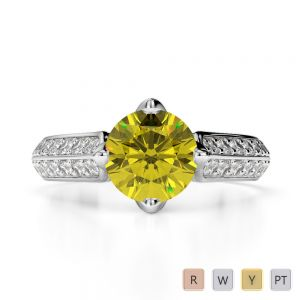 Gold / Platinum Round Cut Yellow Sapphire and Diamond Engagement Ring AGDR-1205