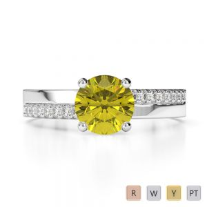 Gold / Platinum Round Cut Yellow Sapphire and Diamond Engagement Ring AGDR-1206
