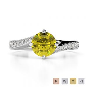 Gold / Platinum Round Cut Yellow Sapphire and Diamond Engagement Ring AGDR-1207