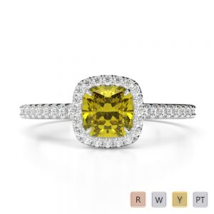 Gold / Platinum Round and Cushion Cut Yellow Sapphire and Diamond Engagement Ring AGDR-1212