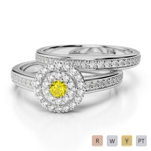 Gold / Platinum Round cut Yellow Sapphire and Diamond Bridal Set Ring AGDR-1239