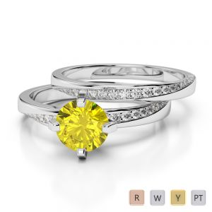 Gold / Platinum Round cut Yellow Sapphire and Diamond Bridal Set Ring AGDR-2001