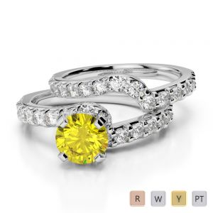 Gold / Platinum Round cut Yellow Sapphire and Diamond Bridal Set Ring AGDR-2003