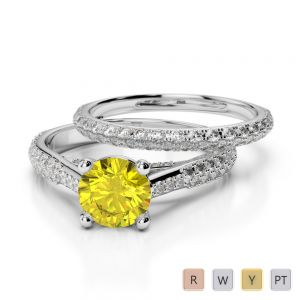 Gold / Platinum Round cut Yellow Sapphire and Diamond Bridal Set Ring AGDR-2013