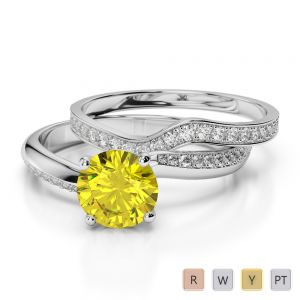 Gold / Platinum Round cut Yellow Sapphire and Diamond Bridal Set Ring AGDR-2017