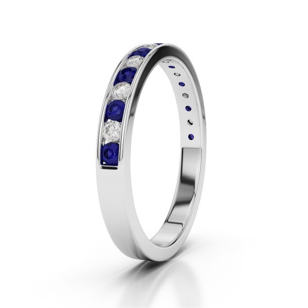 Diamond & Blue Sapphire Half Eternity Ring in Platinum 950 AGDR-1090-L 1/2
