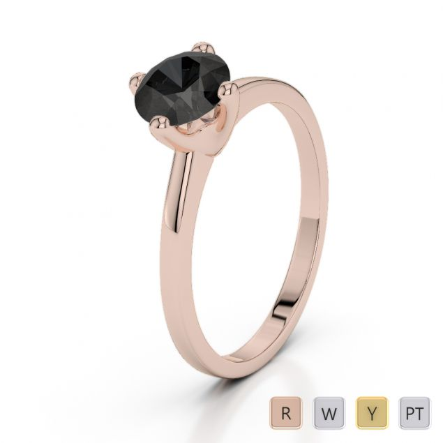 Gold / Platinum Round Cut Black Diamond Engagement Ring AGDR-2028