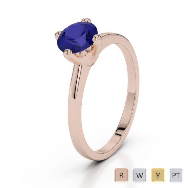 Gold / Platinum Round Cut Sapphire Engagement Ring AGDR-2028