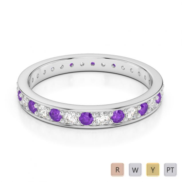 2.5 MM Gold / Platinum Round Cut Amethyst and Diamond Full Eternity Ring AGDR-1079