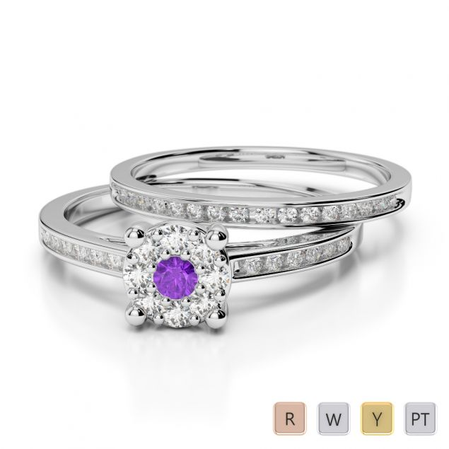 Gold / Platinum Round cut Amethyst and Diamond Bridal Set Ring AGDR-1052