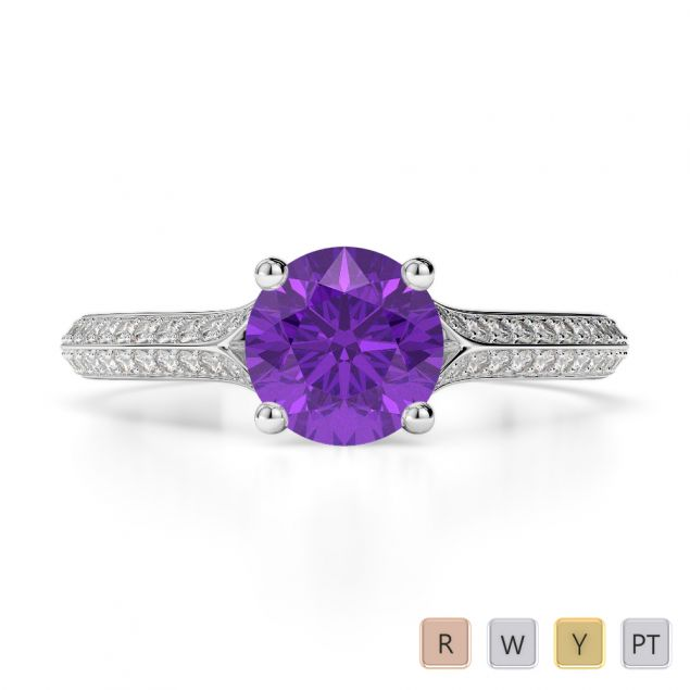 Gold / Platinum Round Cut Amethyst and Diamond Engagement Ring AGDR-1200