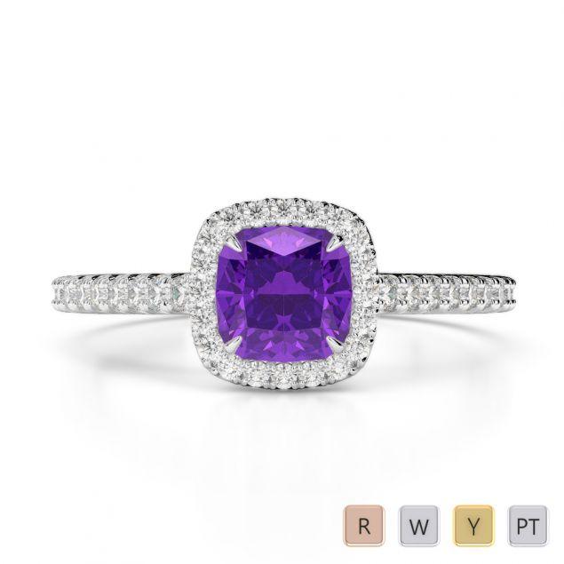 Gold / Platinum Diamond & Gemstone Engagement Ring AGDR-1212