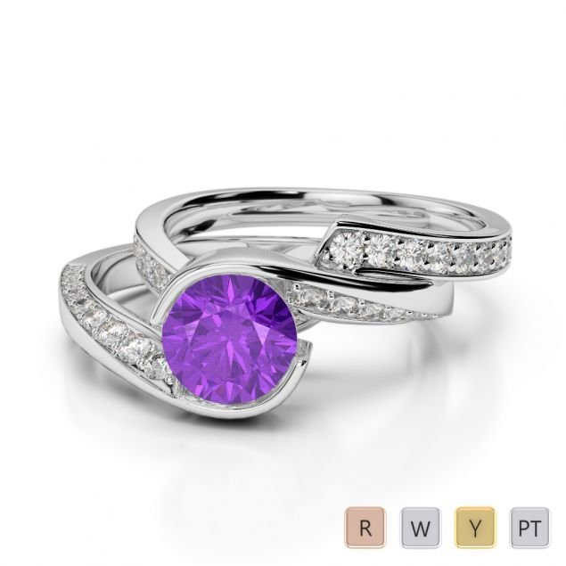Gold / Platinum Round cut Amethyst and Diamond Bridal Set Ring AGDR-2019