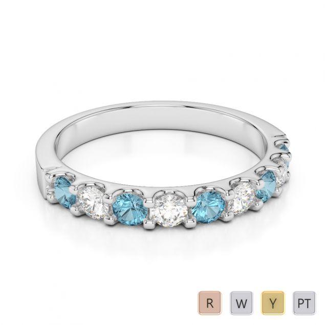 2.5 MM Gold / Platinum Round Cut Aquamarine and Diamond Half Eternity Ring AGDR-1108
