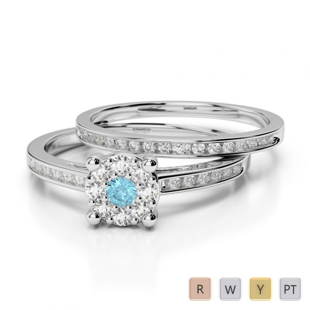 Gold / Platinum Round cut Aquamarine and Diamond Bridal Set Ring AGDR-1052