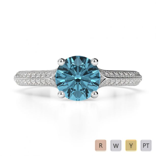 Gold / Platinum Round Cut Aquamarine and Diamond Engagement Ring AGDR-1200