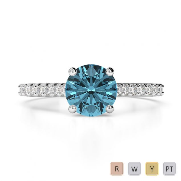 Gold / Platinum Round Cut Aquamarine and Diamond Engagement Ring AGDR-1213