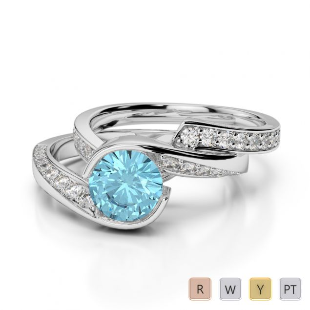 Gold / Platinum Round cut Aquamarine and Diamond Bridal Set Ring AGDR-2019