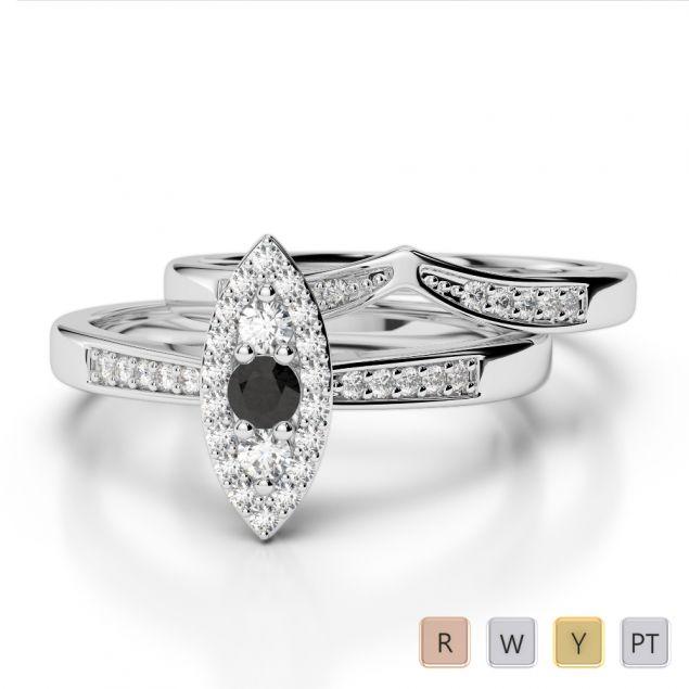Gold / Platinum Round cut Black Diamond with Diamond Bridal Set Ring AGDR-1050