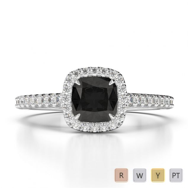 Gold / Platinum Round and Cushion Cut Black Diamond with Diamond Engagement Ring AGDR-1212