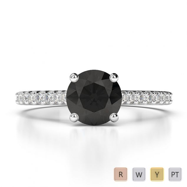 Gold / Platinum Round Cut Black Diamond with Diamond Engagement Ring AGDR-1213