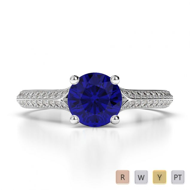 Gold / Platinum Round Cut Sapphire and Diamond Engagement Ring AGDR-1200