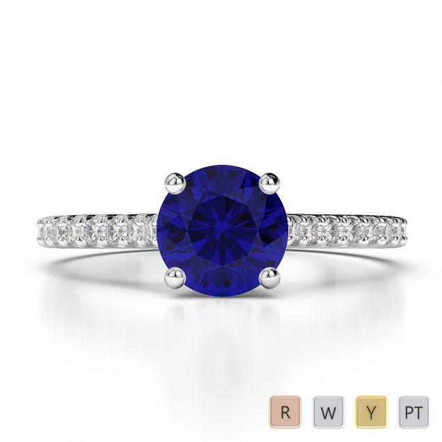 Gold / Platinum Round Cut Sapphire and Diamond Engagement Ring AGDR-1213