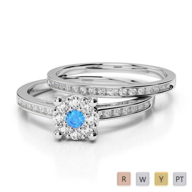 Gold / Platinum Round cut Blue Topaz and Diamond Bridal Set Ring AGDR-1052