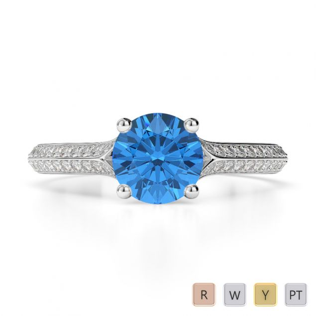 Gold / Platinum Round Cut Blue Topaz and Diamond Engagement Ring AGDR-1200
