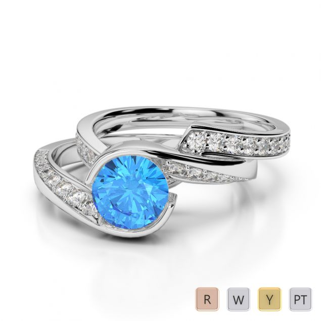 Gold / Platinum Round cut Blue Topaz and Diamond Bridal Set Ring AGDR-2019