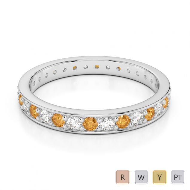 Gold / Platinum Round Cut Citrine and Diamond Full Eternity Ring AGDR-1079