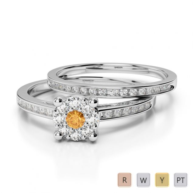 Gold / Platinum Round cut Citrine and Diamond Bridal Set Ring AGDR-1052