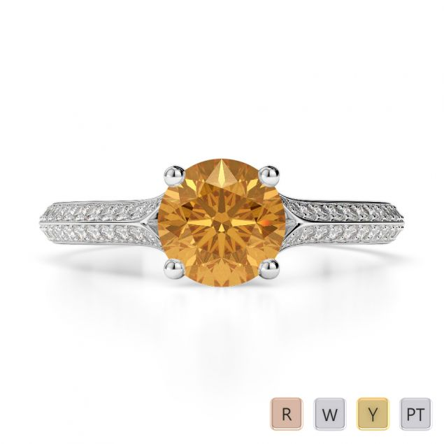 Gold / Platinum Round Cut Citrine and Diamond Engagement Ring AGDR-1200