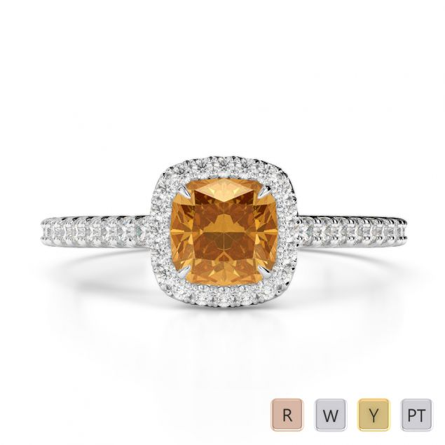 Gold / Platinum Round and Cushion Cut Citrine and Diamond Engagement Ring AGDR-1212