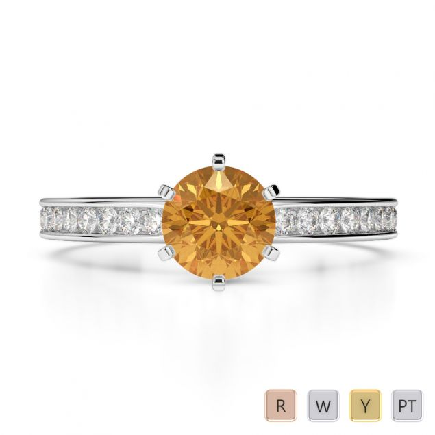 Gold / Platinum Diamond & Gemstone Engagement Ring AGDR-1214