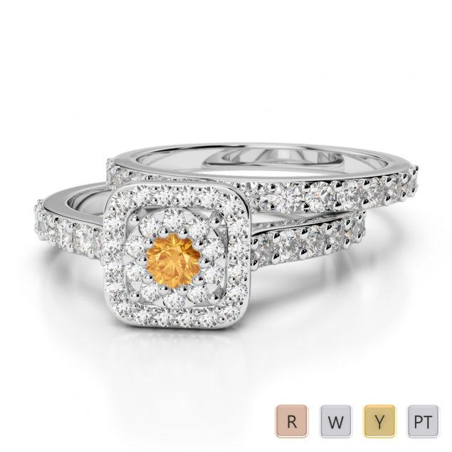 Gold / Platinum Diamond & Gemstone Bridal Set Ring AGDR-1246