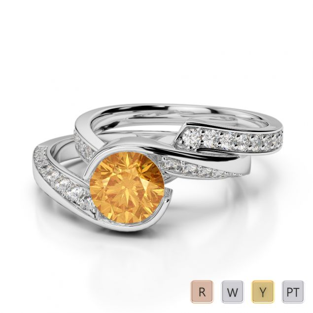 Gold / Platinum Round cut Citrine and Diamond Bridal Set Ring AGDR-2019
