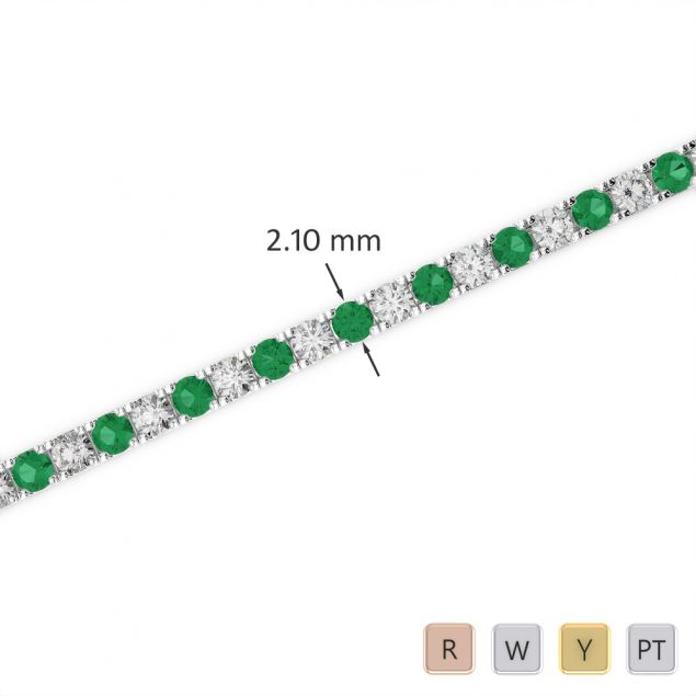 Gold / Platinum Round Cut Emerald and Diamond Bracelet AGBRL-1014