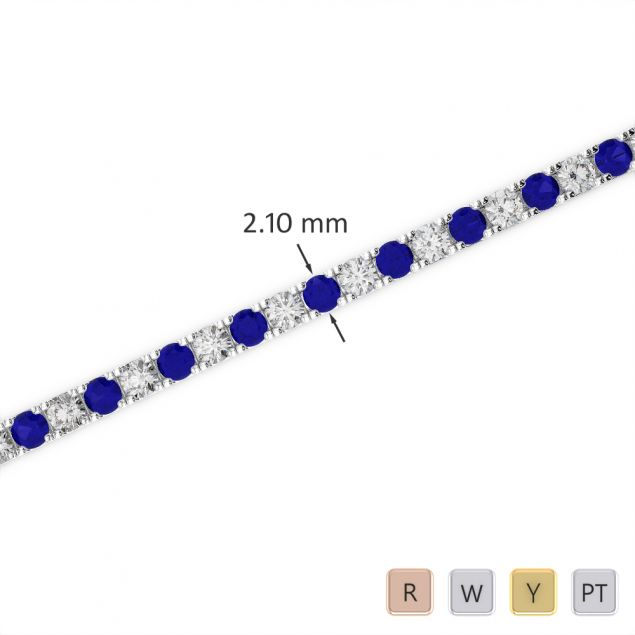 Gold / Platinum Round Cut Sapphire and Diamond Bracelet AGBRL-1014