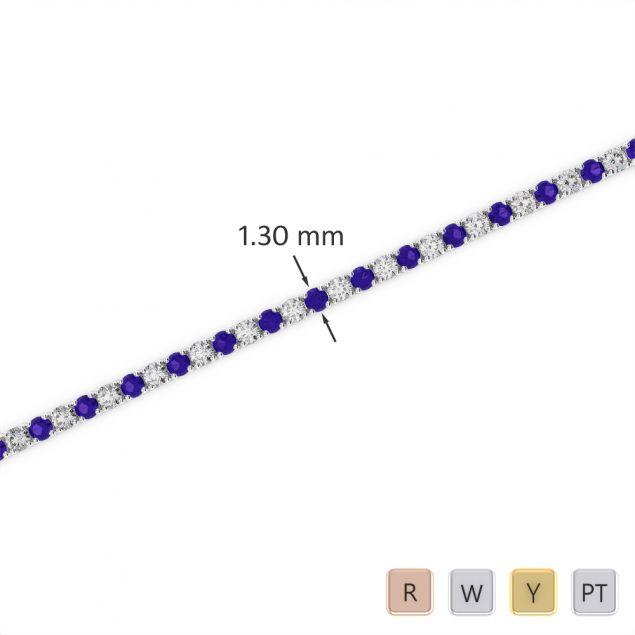 Gold / Platinum Round Cut Tanzanite and Diamond Bracelet AGBRL-1001