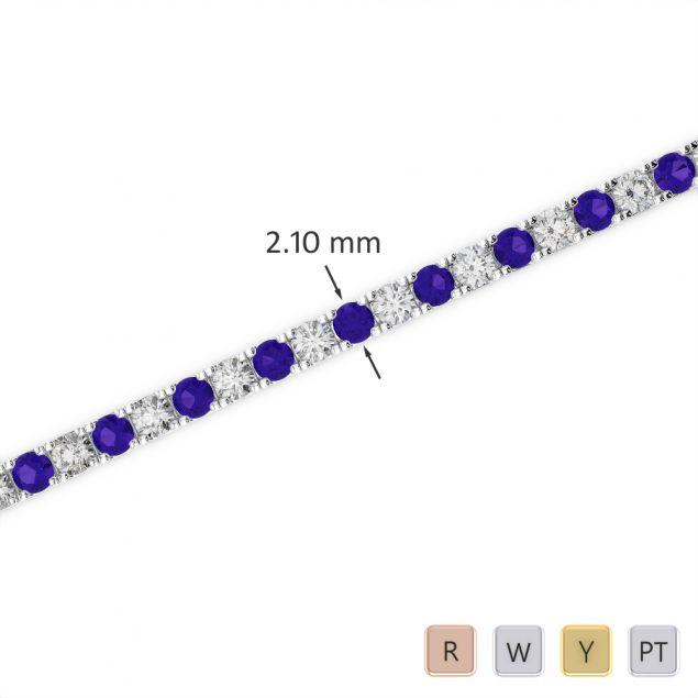 Gold / Platinum Round Cut Tanzanite and Diamond Bracelet AGBRL-1014