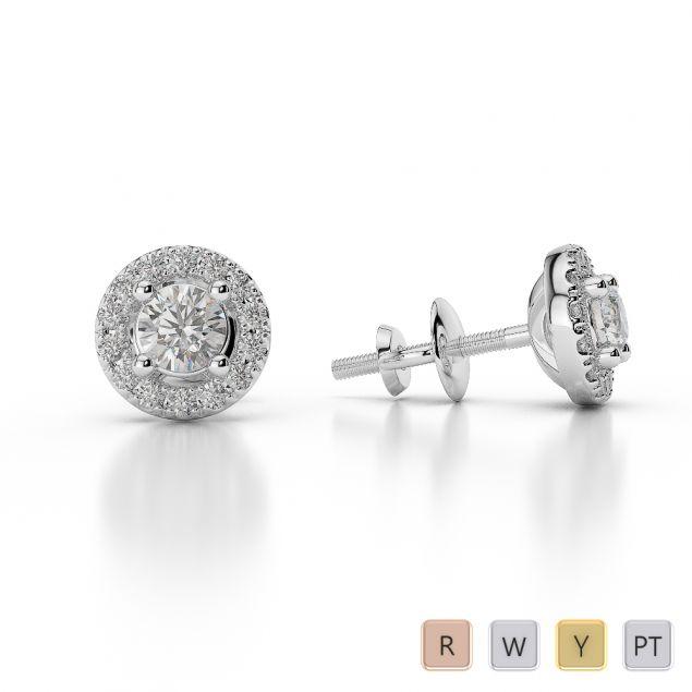 Gold / Platinum Diamond Halo Earrings AGDER-0255