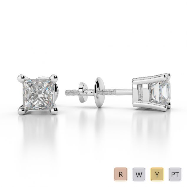 Gold / Platinum Princess Shape Diamond Stud Earrings AGER-1007